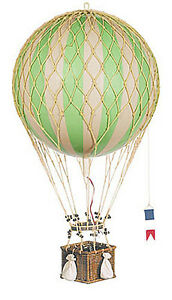 """Hot Air Balloon Model Green & White Striped 13"""" Hanging Aviation Home Decor"""