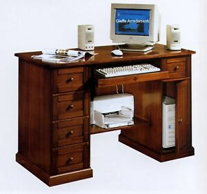 Scrivania scrittoio porta pc in pioppo colore noce x for Scrivanie e mobili da ufficio