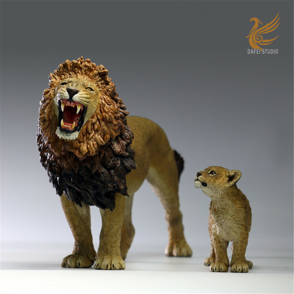 DF 1 12 African African African Lion King and Son Model Panthera leo massaicus Animal Toys Gift 93d