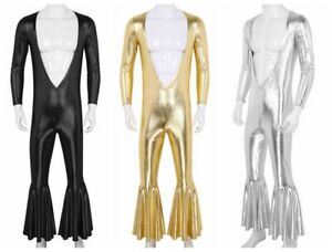 Men-Metallic-Bodysuit-Deep-V-Catsuit-Dance-Disco-Jumpsuit-Party-Stage-Club-Wear