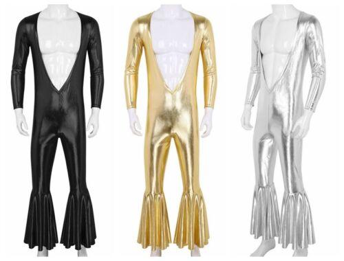 Men Metallic Bodysuit Deep V Catsuit Dance Disco Jumpsuit Party Stage Club Wear