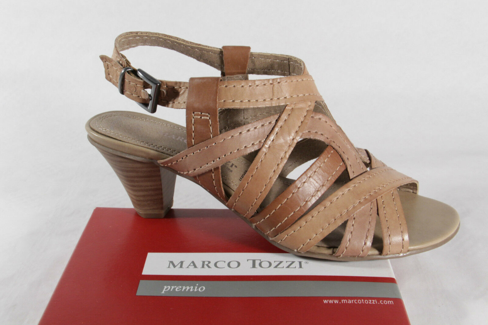 Marco Tozzi Women's Sandals Sandals Sandals High-Heeled Light Brown, Real Leather New 753c69