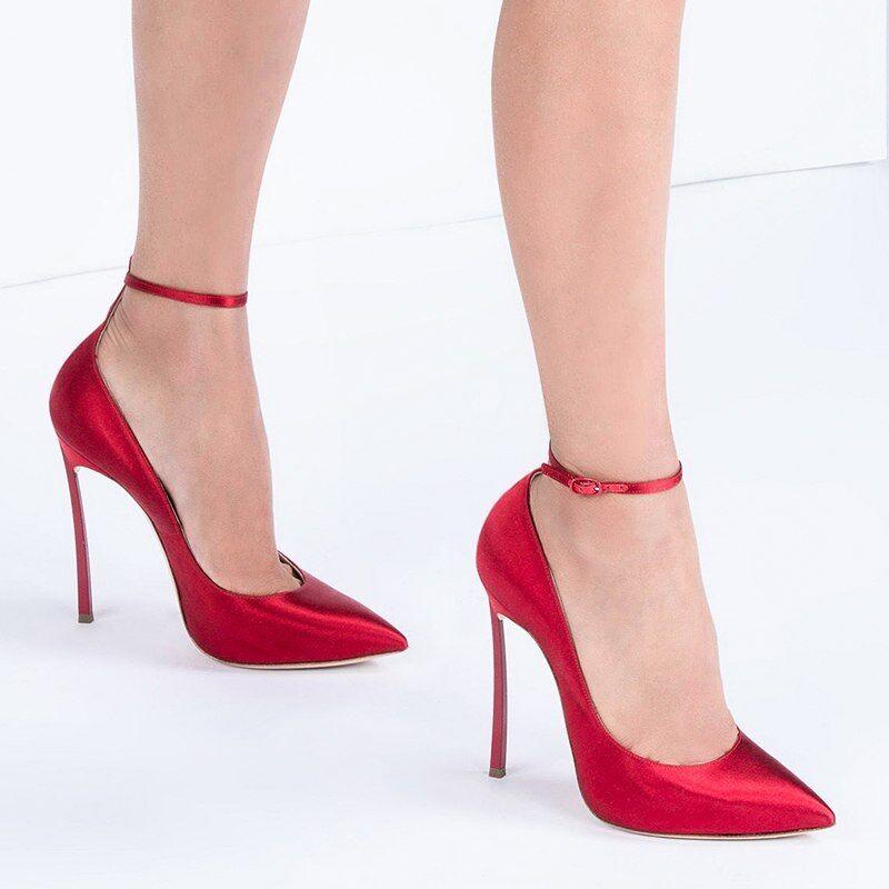 Decolte kim kardashian 12 cm stiletto alti alti stiletto curvato eleganti rosso simil pelle 8a40c2