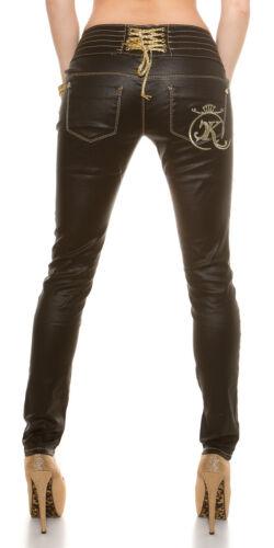 XS//S//M//L//XL Women/'s Slim Skinny Back Lacing Faux Leather Pant