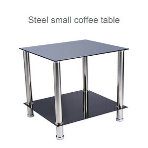 Image Is Loading Steel Glass Black Square Side End Coffee Table