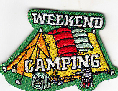 """/""""CAMPING/""""  Iron On Patch Scouts Girl Boy Cub Camp Camper Outdoors Tent"""