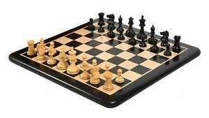 """Chessmen in Ebony/ Boxwood with King Side Stamping- 3.5"""" with Wooden Chess Board"""