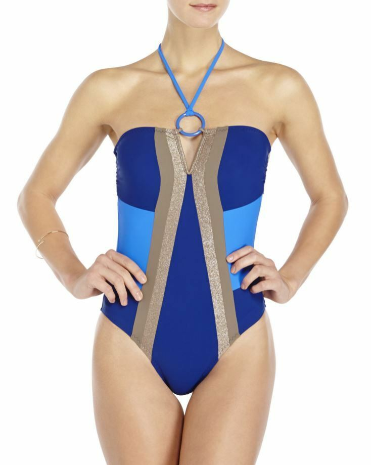 Red Carter bluee Metallic Boogie Nights One-Piece Swimsuit Size M Medium   8