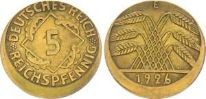 5 Pfennig 1926 e Fehlprägung 15% dezentriert ohne Riffelrand seltenes mzz. 63778