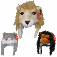 Kids Animal Furry Fun Hats Scarf Boys Girls Winter
