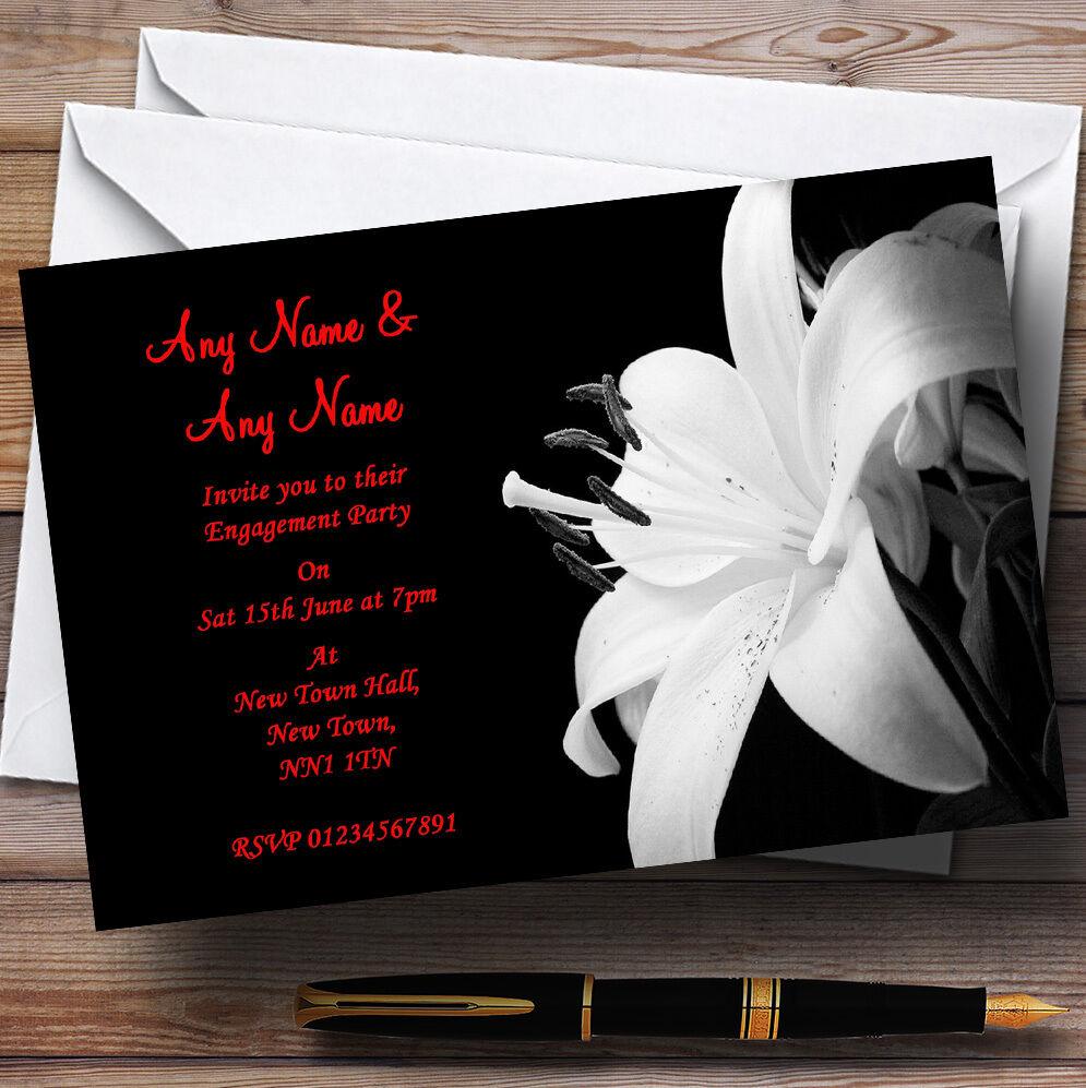 Impresionante Flor del lirio Negro blancoo Rojo Fiesta de Compromiso Personalizado Invitaciones