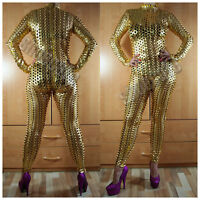Clubwear Wetlook Catsuit Gr. S Overall metallic goldfarben Stretch