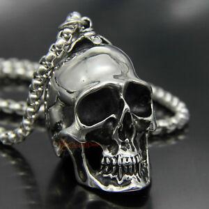 Men-039-s-Huge-Stainless-Steel-Biker-Skull-Pendant-Necklace-Punk-Rock-Vintage-Silver