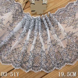 1-Yard-Pretty-Floral-Stretch-Delicate-Scallop-Edge-Lace-Trim-White-7-5-8-034-Wide