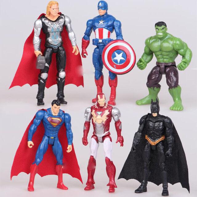 Superman Hulk Batman Iron Man Super Hero Figures Toy Captain America 6pcs