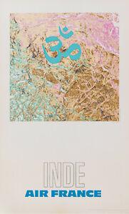 Original Vintage Poster-Raymond PAGES-AIR FRANCE-INDE-Avion - 1971