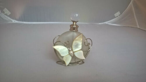 Frosted Glass Pefume Bottle with Filigree Stand, Butterfly and Flower
