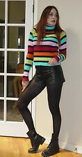 Vtg 90s PUNK rave High neck RAINBOW Striped KNIT Sweater