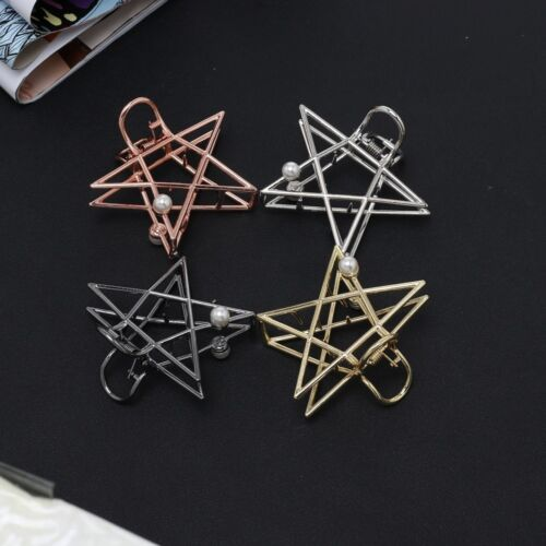 Big Hollow Pentagram Pearl Hair Claw Clip Gifts For Women Girl 4 Colors Hot Sale
