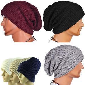 EE  Men s Knitting Slouchy Beanie Cap Baggy Vertical Stripe Warm ... adb3cc4d9bd