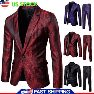 f538c58f8d93 Details about Men Slim Fit Smart Casual Contrast One Button Blazer Coat  Suit jacket+Long Pants