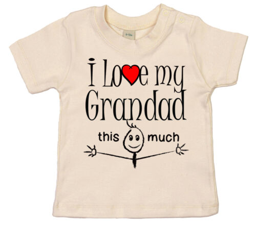 """Granddad Baby T-Shirt /""""I Love My Grandad this Much/"""" Grand Father Gift"""