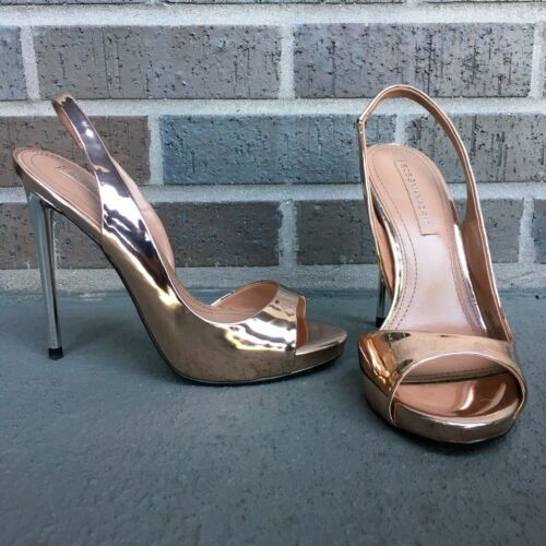 BCBGMAxAzria Prue Metallic Leather Peep Toe Sling