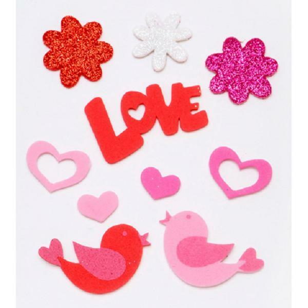Darice Valentines Flowers Birds Foamies Foam Stickers Hearts LOVE 126 Pieces