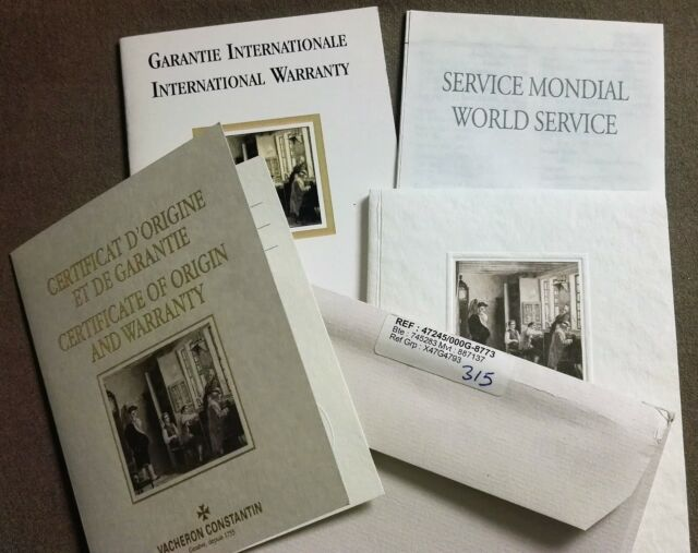 8d6844e8f62 Vacheron Constantin complete kit warranty and booklets for Patrimony  retrograde