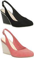 Sale Ladies Clarks Demerara Sugar Coral Black Suede Sling Back Wedge Heel Shoes