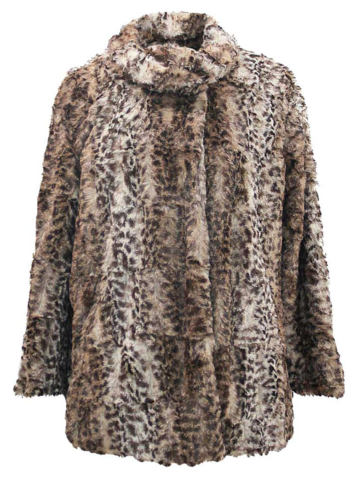 FAUX FUR PLUSH LEOPARD WOMENS COAT