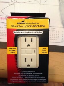 COOPER Wiring Devices Shock Sentry GFCI/DDFT/ICTA Receptacle, Almond