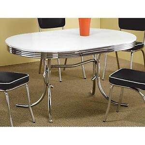 Attractive Coaster 50s Retro Nostalgic Style Oval Dining Table Chrome Plated