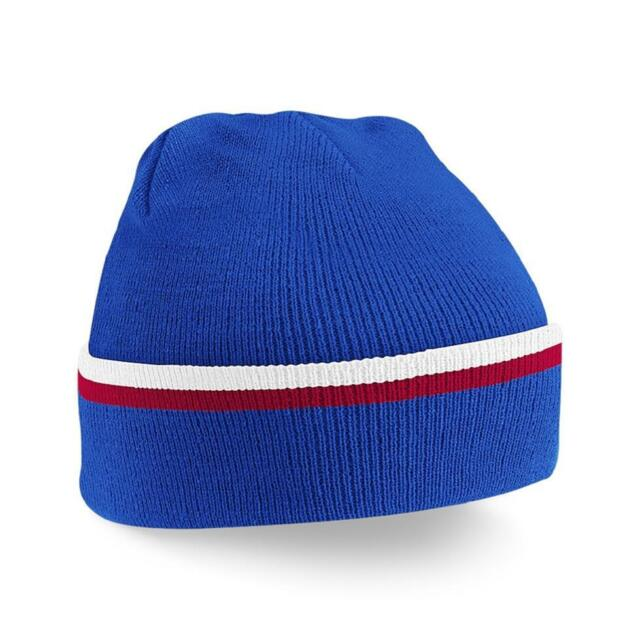 e85fc98dcd2 Contrast Colour 100 Soft Acrylic Winter Beanie Knitted Ski Hat Royal ...