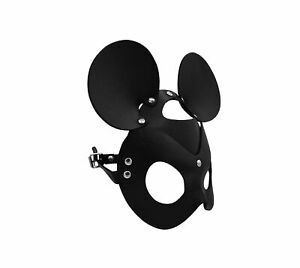 Black PU Leather Mask Mouse Ears Animal Half Mask Cosplay Costume Accessory