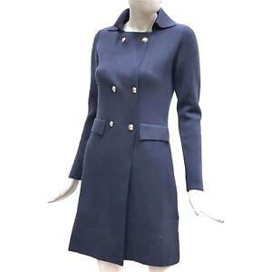 reputable site 4c8a1 08e2f Dettagli su Cashmere Company Cappotto in Maglia Donna Cappottino Blu Doppio  Petto Giacca