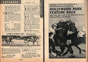 Details about 1957 HOLLYWOOD PARK HORSERACING TV ADS~WILLIE SHOEMAKER~GOLD  CUP FEATURE RACE