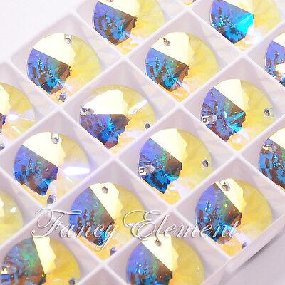 2/8/36/72pcs Swarovski Crystal Round 3200 Clear AB 18mm Sew On Rhinestone Foiled