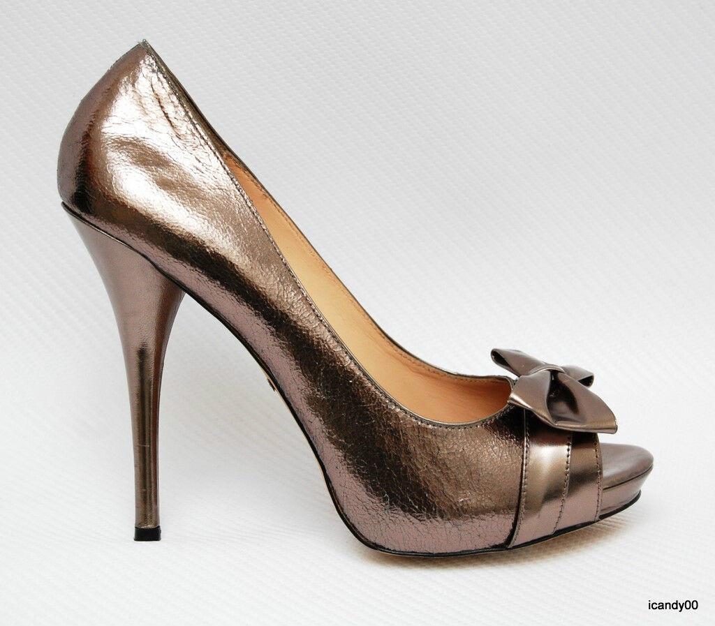 Betsey Johnson Aleta Open Toe Bow Pump New Heel Schuhe Pewter 10 New Pump 5460ef