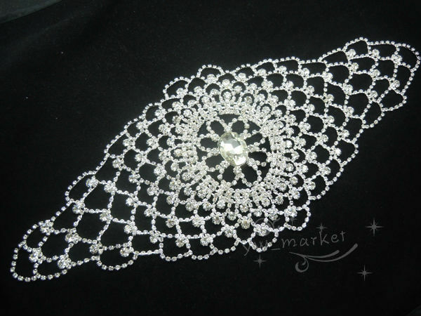 Bridal Sew On Dress Applique Crystal Rhinestine Wedding Supply Trim A272