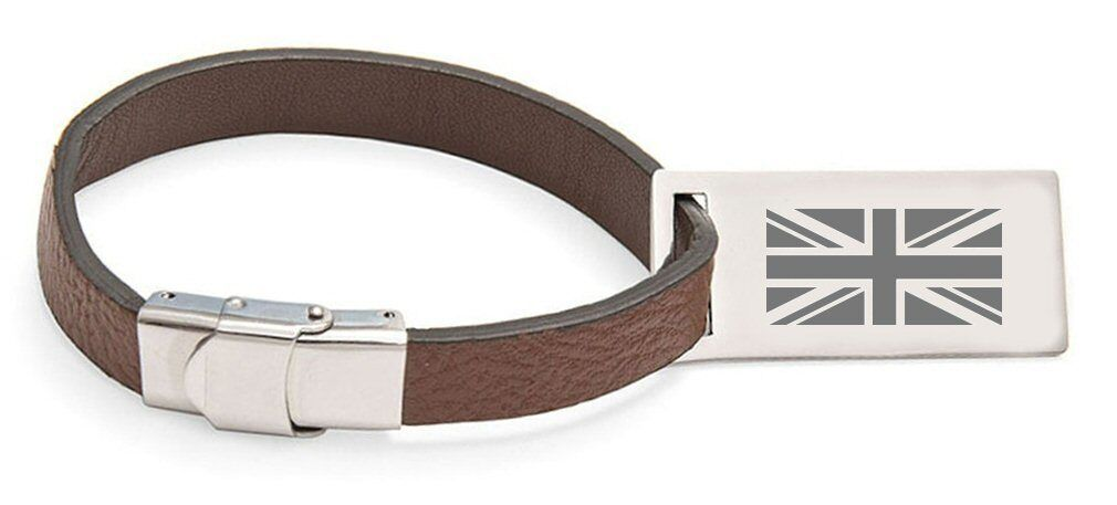 English flag england engraved personalised cuir sacgage label