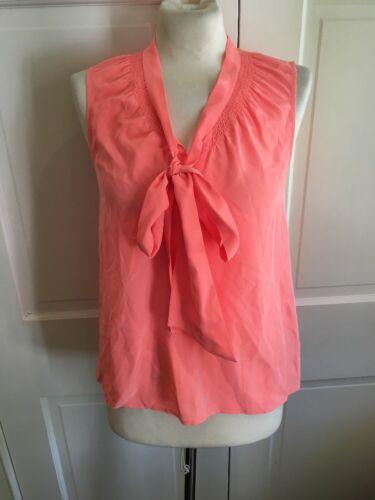 Lilly Pulitzer Neon Orange 100% Silk Tie Front Blo