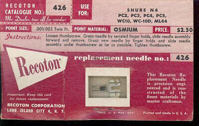 PC2 PC3 PC4 33 45 78 rpm Osmium Tip needle Recoton 426 Shure N4