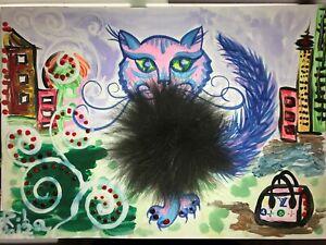 ORIGINAL-katze-MALEREI-PAINTING-zeichnung-cat-STADT-CITY-contemporary-ART-NAIV