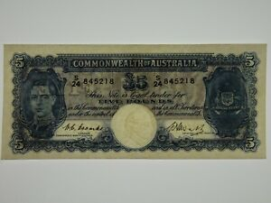 1949-Five-Pounds-Coombs-Watt-Banknote-in-aUnc-Condition
