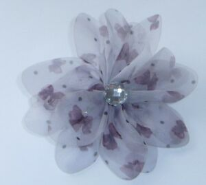 Grey-Chiffon-Butterfly-Diamante-Flower-Hair-Clip-Dress-Pin-Wedding-Prom-Evening