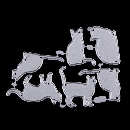 6X Katze Metall Stanzformen Schablone Scrapbook Papier Karten Handwerk Prägen XJ