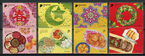 Singapore-2018-MNH-Festivals-Christmas-Chinese-New-Year-Deepavali-8v-Set-Stamps