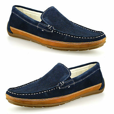 Mens Leather Suede Slip On Casual Mocassin Designer Loafers Driving Shoes Size