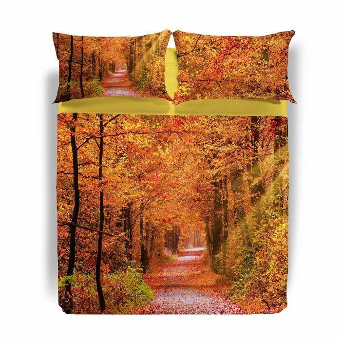Completo lenzuola copriletto 2 piazze Caleffi Autumn Leaves OFFERTA ...